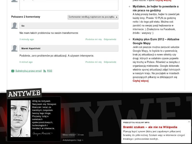 Wtyczka upPrev jest aktualnie używana w serwisie antyweb.pl